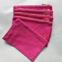 rosa baumwolltasche großhandel-12oz dick und langlebig hot pink cotton leinwand make-up tasche mit gold zip goldfutter 6 * 9in hot pink leinwand kosmetiktasche geben schiff frei jede farbe