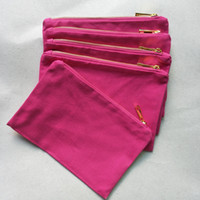 Wholesale Wholesale Pink Canvas Bags - 12oz thick and durable hot pink cotton canvas makeup bag with gold zip gold lining 6*9in hot pink canvas cosmetic bag free ship any color