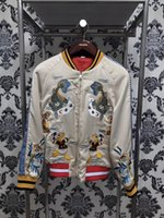 Wholesale Winter Jacket Pattern - 2017 winter brand Fashion Donald Duck embroidered silk brocade carp coat jacketS Long sleeve Mens Casual Bomber Jacket Men Overcoat