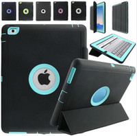 Wholesale Ipad Silicone Covers - Hybrid Heavy Duty Shockproof Armor Rugged Leather Hard Plastic Silicone TPU Back Cover Kickstand Case For iPad 2 3 4 6 7 Pro 9.7 Mini Mini4