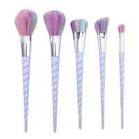 Wholesale Synthetic Hair Wholesale Prices - Makeup Brushes Unicorn Spiral 5Pcs Set Colorful Brushes Professional Brushes Set Plastic Unicorn Spiral Brush Good Quality Factory Price