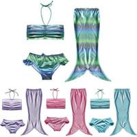 Wholesale Girls Ruffled Halter Bikini - Girl Mermaid Tail Scale Swimwear Bikini Set 3pcs lot Bathing suits Shell halter top+ruffles panties In stock 2017 Summer