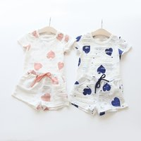 Wholesale Girls Summer Heart T Shirt - Summer Baby Clothing Sets Girls Hearts Printed Short Sleeve T-shirt Short Pants Kids Casual 2 piece Suit Children Clothes Free DHL 211