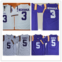 Wholesale Beckham Jerseys - Mens NCAA SEC LSU Tigers Odell Beckham Jr Game Jersey Stitched white purple #5 Derrius Guice LSU Tigers College Football Jerseys S-3XL