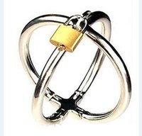 Wholesale Stainless Steel Cross Bondage - 2017 Latest Female Stainless Steel Cross Handcuffs Manacle Bracelet Wrist Restraint Slave Bondage With Lock Adult BDSM Products Sex Toy