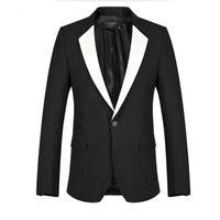 novio de esmoquin blanco boda al por mayor-Los hombres negros se adaptan a la chaqueta blanca del chal del mantón de la boda de los smokinges de la boda de alta calidad de trabajo de negocios trajes de negocios chaqueta