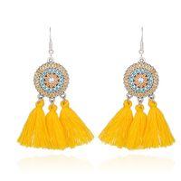 Wholesale Cloth Chandeliers - Wholesale Bohemia Yellow Long Tassel Dangle Earrings Flower Fashion Jewelry Ethnic Vintage Party Gift Silk Cloth Drop Earrings For Women