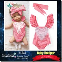 Wholesale Headband Tutu Rompers - Baby Kids Romper With Headband Infant Clothing Children Rompers Lovely Headband Girl Clothes 100% Cotton DHL Free Shipping