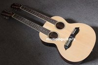 Wholesale Double Acoustic - 6 12 String Acoustic Electric Double Neck Guitar, Two Hole,with EQ and Bag