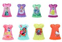 Wholesale 8 Styles Summer girls dresses Elsa Anna Mermaid Sofia Snow White Minnie kids pajamas polyester nightgowns sleepwear clothes