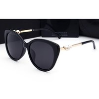 Wholesale Pearl Frames - 2017 woman sunglasses Brand lady luxury designer with box logo UV400 polarizing fashion sunglasses for women pearl frame