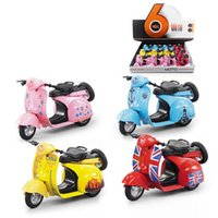Wholesale Pink Small Girls Model - Alloy sound and light motorcycle car model girl small sheep retro motorcycle children toy car model new