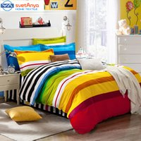 Wholesale Mattress Casing - Wholesale-Rainbow color stripes boys bedding set for single double bed,(flat bedsheet  Mattress cover+Duvet case+pillowcases) 4pc 5pc sets