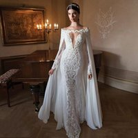 Sexy See Through Mermaid Lace Applique Wedding Dresses Съемная шифоновая обертка Bateau Neck Long Sleeve Sheer Bridal Gowns 2016 With Beadings
