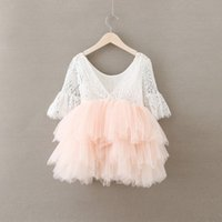 Wholesale girls kids crochet dress - Girl Dress Christmas Baby Girls Crochet Lace tulle Dresses Kids Girl Princess tutu Floral Dress Girl Autumn Pearl Party Dress Babies clothes