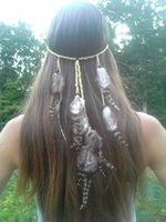 Wholesale Wholesale Gypsy Headbands - idealway New Fashion Handmade Ethnic Tribal Gypsy Rope Wood Beads Feather Hairband Hair Clip Women Jewelry