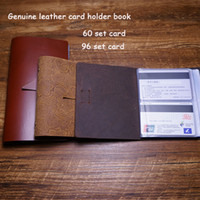 Wholesale Handmade card holder case business genuine leather card holder case free engrave name on leather package cried card case