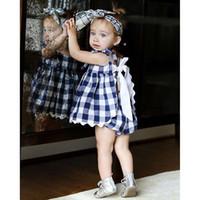 kleid blüten großhandel-Ins Baby Mädchen Kleider Set Blau Weiß Plaid Schürze Spitze Zurück Bogen Kleider mit Pumphose 2pcs / set 2019 Sommer 100% Baumwolle