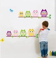 Wholesale Owl Wall Mural - Owl and branch children's house wall stickers, children's favorite, the room is more exciting.