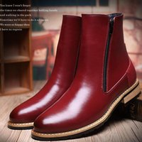 Wholesale slip shoes men cowboy - Men'S Martin Boots British Style Fashion Boots Shoes Genuine Leather Ankle Oxford Boots Slip-On Motorcycle Zipper Shoes Free Shipping