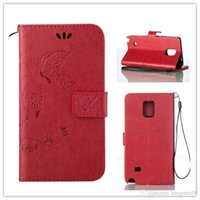 Wholesale Beautiful Note Cards - Samsung Galaxy Note 4 Case Retro PU Leather Wallet Flip Case Beautiful Intaglio Flower Cover for Galaxy Note 4