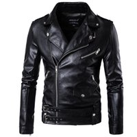 Wholesale Leather Jacket For Short Men - 2017 Black Moto Leather Jackets For Men Short Cool Best Designer Faux Leather Blazer Mens Casual Fashion Slim Coats Biker Jacket