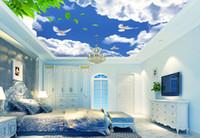 fondo de pantalla del techo del cielo al por mayor-Papel tapiz 3D personalizado techo Cielo azul nubes blancas hoja verde palomas cielo papel tapiz sala de estar paisaje pared papel