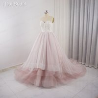 Wholesale Luxury Bridal Dresses Photos - Sweetheart Pale Pink Wedding Dresses Tulle Layers Lace Pearl Beaded Luxury Fairy Romantic Bridal Gown Real Photo