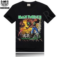 Wholesale Heavy T Shirts Men - Rocksir 2016 Iron Maiden Brand Black t shirt New Style Heavy Metal Streetwear Men's T-shirts Cotton Casual Short Sleeve TOP Tees