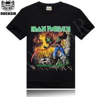 Wholesale Heavy Metal Iron - Rocksir 2016 Iron Maiden Brand Black t shirt New Style Heavy Metal Streetwear Men's T-shirts Cotton Casual Short Sleeve TOP Tees