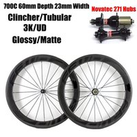 Fast Forward FFWD Negro Carbono Decal Ruedas 60mm Clincher Tubular Full Carbon Bicicleta Wheelset Con Novatec 271/372 Hubs