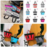 Wholesale Tote Handbags Waterproof - Pink Letter Handbags 9 Styles VS Shoulder Bags Pink Purse Totes Travel Duffle Bags Waterproof Beach Bag Shoulder Bag Shopping Bags OOA3105