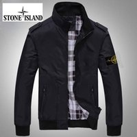 Wholesale Fast shipping new island stone autumn mens jacket bomber jacket and coat land is stone black jacket with hat