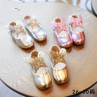 Wholesale Leather Girl Dance Wear - New Collection Sweet Baby Girls Hollow Out Butterfly Pu Leather Summer Shoes Candy Color Dance Wear
