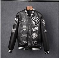neue mode mäntel männer großhandel-Männer Jacken Marke Caual Herren New York PU Mantel Mode Hip Hop Stickerei Baseball NY Jacke Sweatshirts