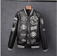 Wholesale Brand Ny - Men jackets Brand Caual Mens new york pu coat Fashion Hip Hop embroidery baseball NY jacket Sweatshirts