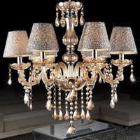 Wholesale European Led Crystal Chandeliers - European modern minimalist living room lamp crystal chandelier crystal candle lights dining room bedroom chandelier light with shade 6 heads