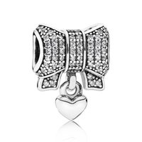 Wholesale Metal Charms Pendants Bow - Authentic 925 Sterling Silver Bead Charm Love Heart And Bow With Crystal Pendant Beads Fit Pandora Bracelet DIY Jewelry HKA3443