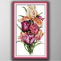 lale çiçek kanvas toptan satış-Asil laleler çiçekler ev dekor resim sergisi, El Yapımı Çapraz Dikiş Nakış İğne setleri tuval üzerine baskı sayılan DMC 14CT / 11CT