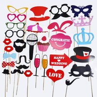 Wholesale Booths Bows - Photo Booth Props wedding party decoration lips moustache bow tie wedding birthday christmas new year parties Photo Booth