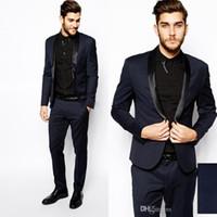 Wholesale Mens Dress Burgundy Suit - Navy Blue High Quality Groom Tuxedos Shawl Lapel Groomsmen Mens Wedding Dresses Clothing Prom Suits (Jacket+Pants+Girdle+Tie)