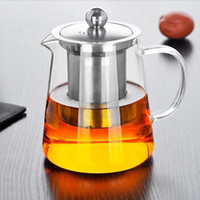 Wholesale wholesale tea pots - 550ml Clear Heat Resistant Glass Tea Pot Kettle With Infuser Filter Tea Jar Home Office Tea Coffee Tools ZA4887