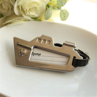 Wholesale Favor Tags - Free Shipping 100PCS Cruise Ship Luggage Tag and Place Card Holder Anniversary Favors Engagement Return Gifts Wedding Favours