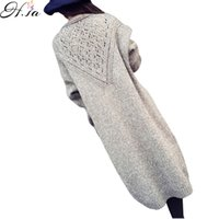 Wholesale Ladies Long Sweaters Coats - Wholesale-Winter Long Cardigans Women 2016 Autumn Knitted Crochet Ladies Sweater Poncho New Brand Casual Solid Long Sweater Coat Mujer