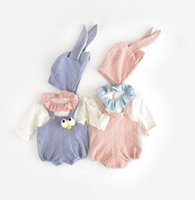 Wholesale Halloween Braces - INS new arrivals baby kids climbing romper long sleeve solid color print brace rabbit romper boy girl romper kids rompers 3-24M