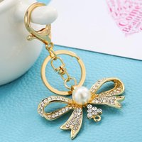 Wholesale Woman Bowknot Sweater - Zinc Alloy Rhinestone+Pearl Bowknot Key Chain Sweater Chains Gold Key Rings for Women Bag Accessories