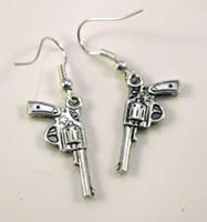Wholesale Fish Gun Fishing - Mixed Style Pistol Gun Revolver Bullet Drop Dangle Earrings 925 Silver Fish Ear Hook 50pairs Tibetan Silver Chandelier Earring Jewelry Gift