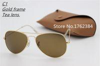 Wholesale Stainless Mix Order - lot wholesale Price designer Mans sunglasses Glod frame Tea Mix order men Womans Sunglasses brand sun glass Come Box