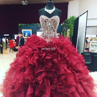 Wholesale Beaded Bodice Prom Ball Gown - Crystal Beaded Sweetheart Bodice Corset Organza Ruffles Ball Gowns Quinceanera Dresses 2017 Burgundy Vestidos De 15 Anos Sweet 16 Prom Gowns