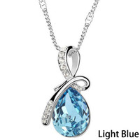 Wholesale Turquoise Jewerly Wholesale - Wholesale-Turquoise Crystal Necklaces Pendants 18K Gold Or Silver Plated Jewellery & Jewerly Necklace Women Fashion Jewelry 0081